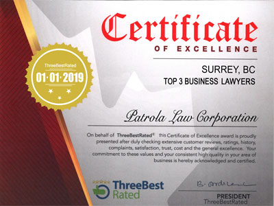 Three Best Rated - Business-Lawyer Certificate