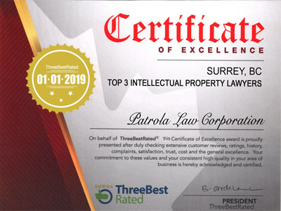 Three Best Rated - IP-Lawyer Certificate